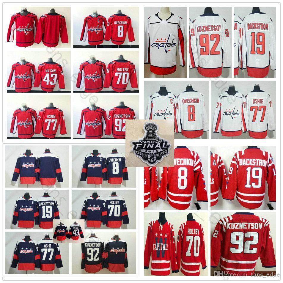 Cheap 2018 Stanley Cup Finals Washington Capitals Jerseys 8 Alex Ovechkin  19 Nicklas Backstrom 70 Braden Holtby 77 T.J. Oshie 92 Evgeny Kuznetsov a86f3536fc1a7