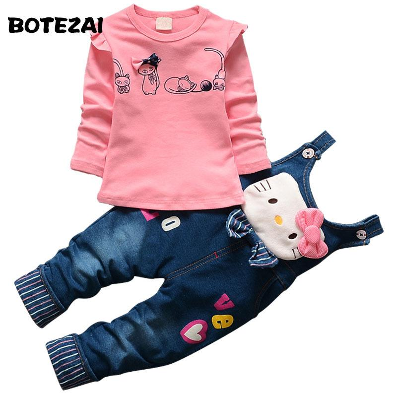 26a4cf26b 2019 2017 Autumn Baby Girls Hello Kitty Clothing Set Children Denim ...