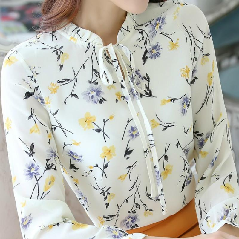 8b1ddf8d651 2019 Floral Chiffon Ladies Spring Blusas 2019 Women Long Sleeve Slim  Blouses Shirt Mujer Plus Size Chemise Femme Summer Tops GV305 From  Illusory01