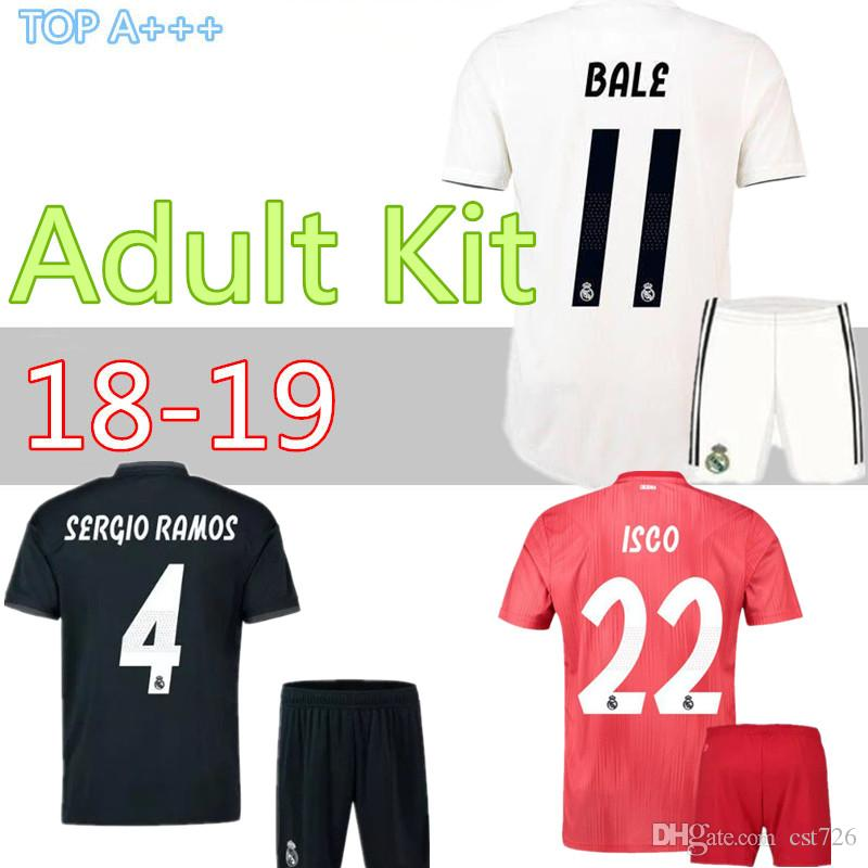 superior quality 8fa23 2fc9e Adult kit 18 19 Real Madrid home Away third soccer jersey 2018 2019 BENZEMA  SERGIO RAMOS MORATA ISCO ASENSIO BALE football jersey short
