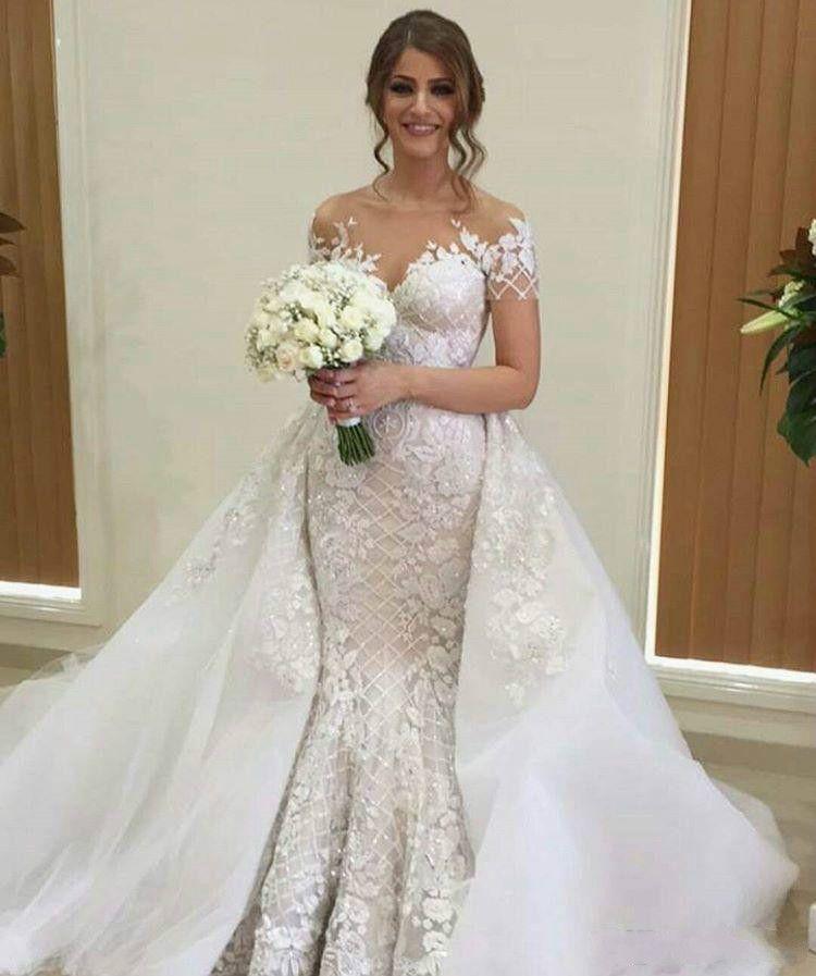 Glamorous Arabic Mermaid Wedding Dresses Sequins Sheer