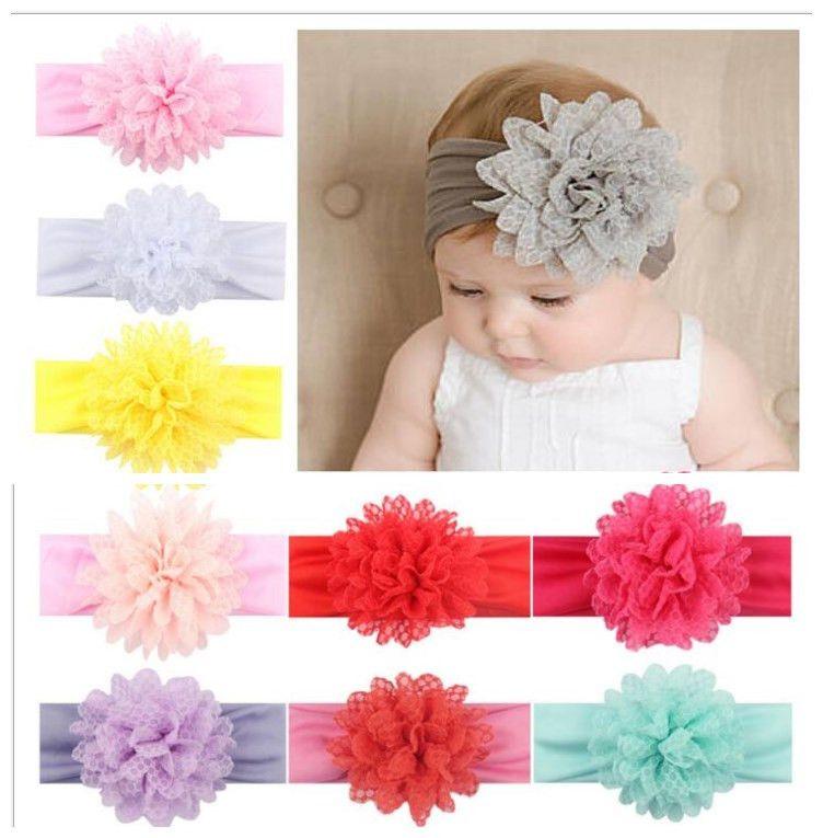 Kleding en accessoires Baby Girls Large Ruffle Flower Lace Hairband Soft Elastic Headband Hair Band Baby