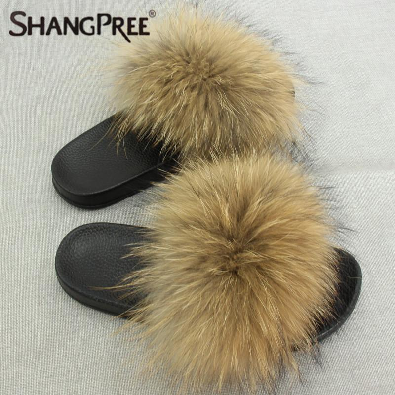 SHANGPREE Women Slippers Ladies Cute Plush Fox Hair Fluffy Slippers Women's Fur Slippers Ladies indoor/outdoor slippers