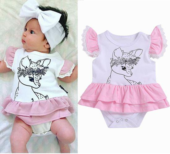 8c7b98c89c71 2019 Summer Baby Reindeer Rompers Toddler Clothes Little Girls ...