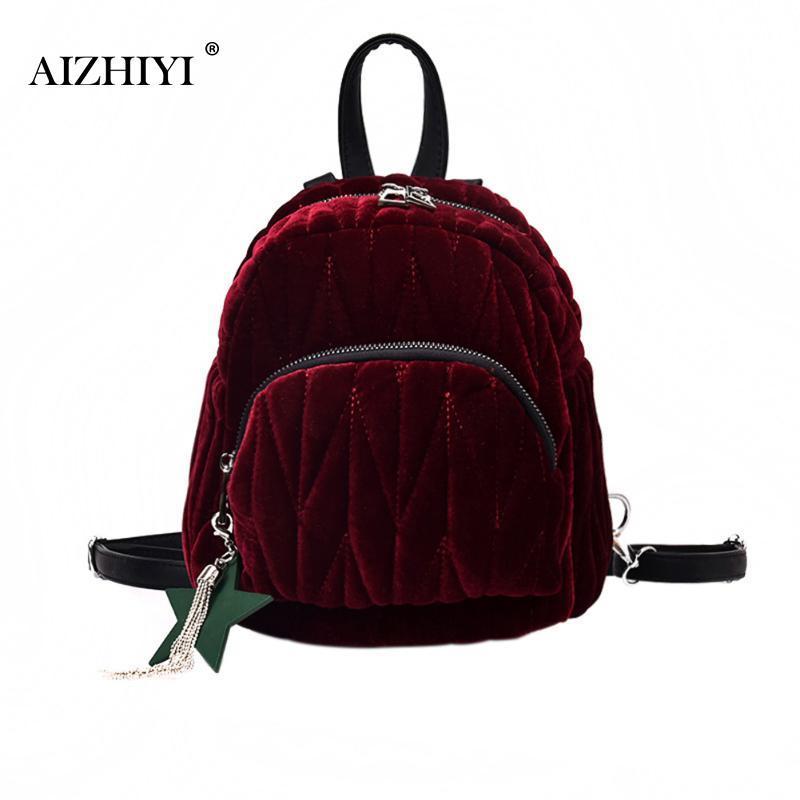 74971ace7d5e Fashion Women Mini Gold Velvet Backpack Designer High Quality Female Casual  Style Travel Backpack School Bag For Teenage Girls