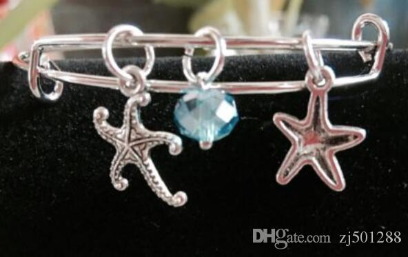 Ocean Star Fish Crystal Bead Charm Expandable Wire Bangles Vintage Silver Cuff Bangles Bangles For Women Jewelry Gift Accessories NEW