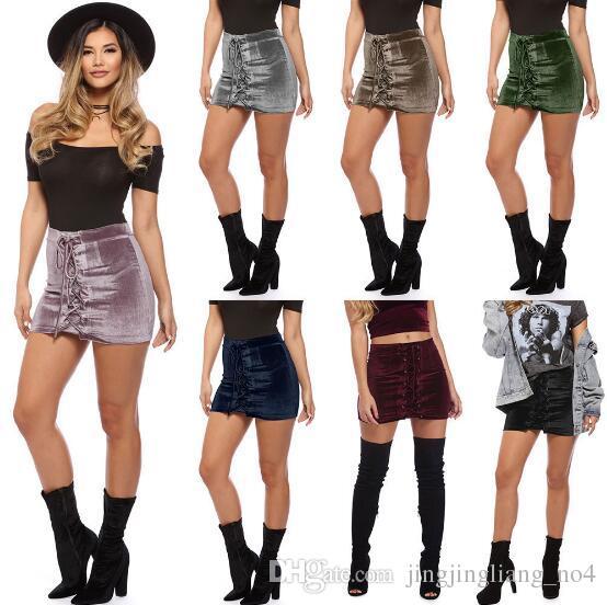 Sexy Velvet Skirts Women Bandage Mini Skirt Fashion Casual Skirts Clubwear  Lace Up Pencil Skirt Nightclub Skirts CCA8576 Velvet Skirts Bandage Mini  Skirt ... 01d5593c6db3