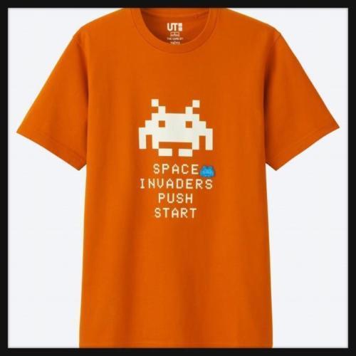 Pre Sale Uniqlo Taito Space Invaders Men S Graphic T Shirt Orange