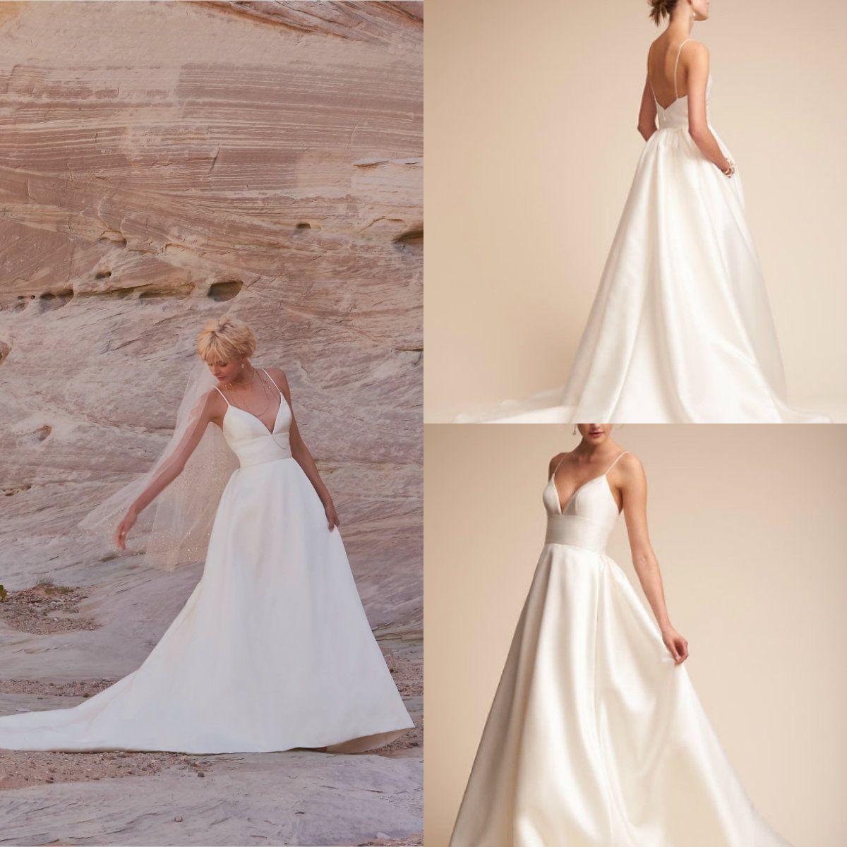 8f40f4eda2 Discount 2018 BHLDN A Line Beach Wedding Dresses Spaghetti Sweep Train  Satin Backless Country Bridal Dress Plus Size Cheap Ivory Wedding Gowns  Elegant ...