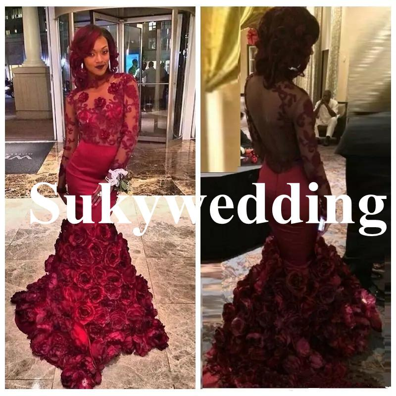Sexy Mermaid Evening Dresses with 3D Rose Floral Lace Long Sleeves Arabic Prom Gowns Open Back Burgundy Women Formal Party Gowns