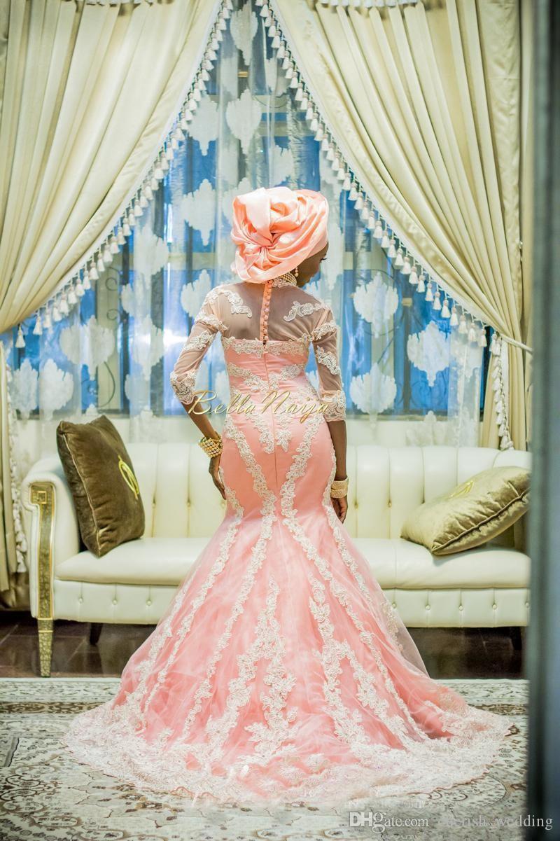 Muslim Wedding Dresses Crew Neck 3/4 Long Sleeves Lace Appliques Nigerian Mermaid Wedding Gowns Aso Ebi Style Bridal Gowns
