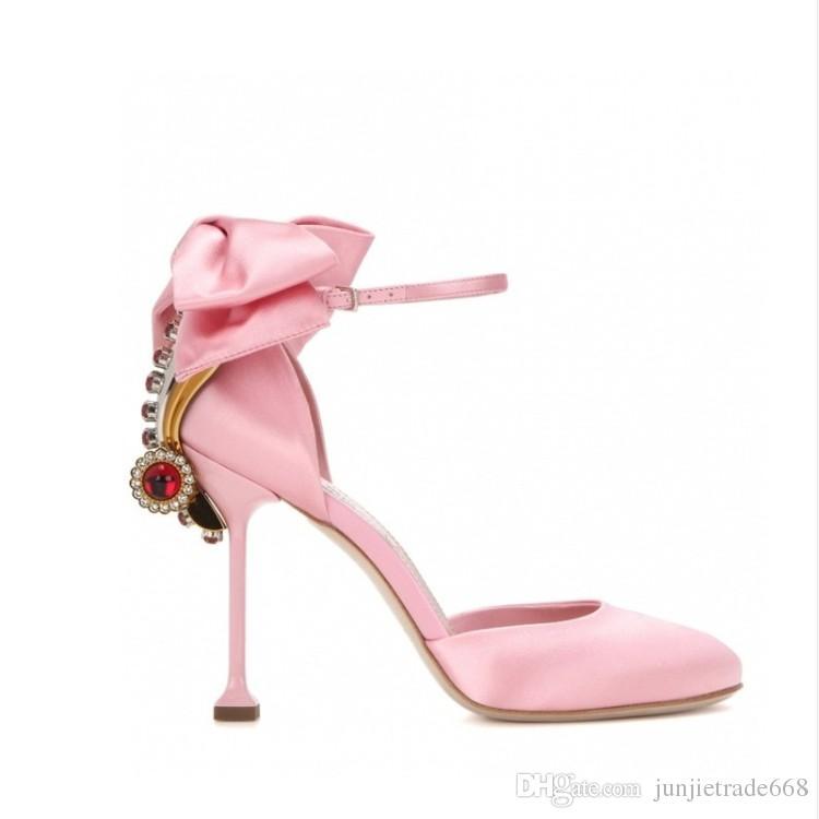 Zapatos de tacón alto de fábrica de las nuevas mujeres del satén de la fábrica de moda zapatos de boda nupcial del arco del diamante piedra gema