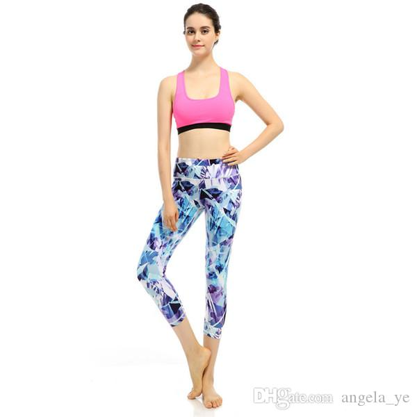 220475dea36517 Women Fashion Building Blocks Printed Yoga Capris Tight Sports Pants ...