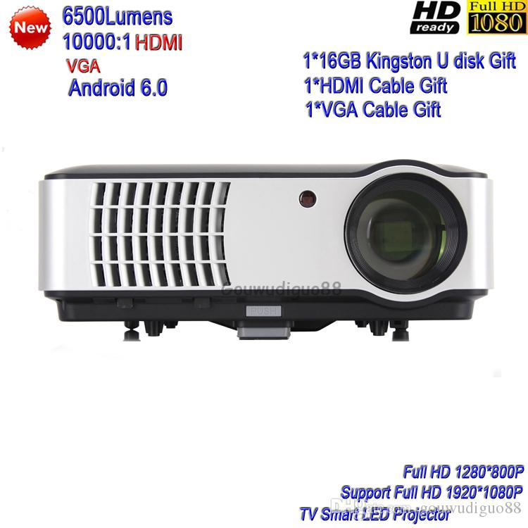 2018 New 6500 Lumens Android 6.0 WiFi Projector TV Smart Projector Full HD 1080P LED Projector HDMI