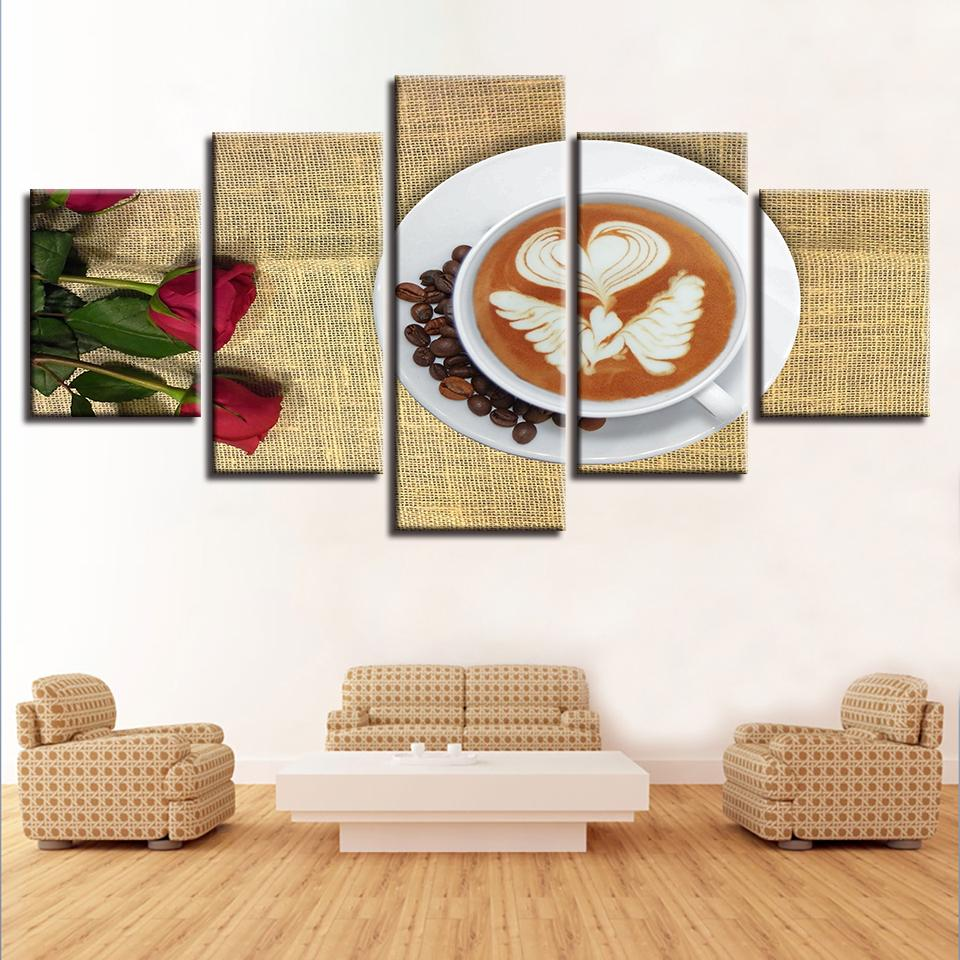 2018 Canvas Pictures Modular Wall Art Hd Prints Poster Fancy Coffee And  Roses Paintings Home Decor For Living Room Framework From Z793737893, $8.9  | Dhgate.