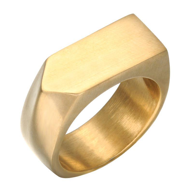 Mens Gold Farbe Geometrische Ringe Titan Edelstahl Quadrat Finger Signet Ringe für Männer Schmuck Männlichen Ring