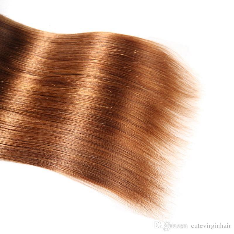 اثنين من لهجة 4 30 أومبير مستقيم عذراء الشعر 3 حزم مع 13 * 4 الرباط أمامي إغلاق البني البرازيلي الإنسان الشعر ينسج مع الدانتيل أمامي