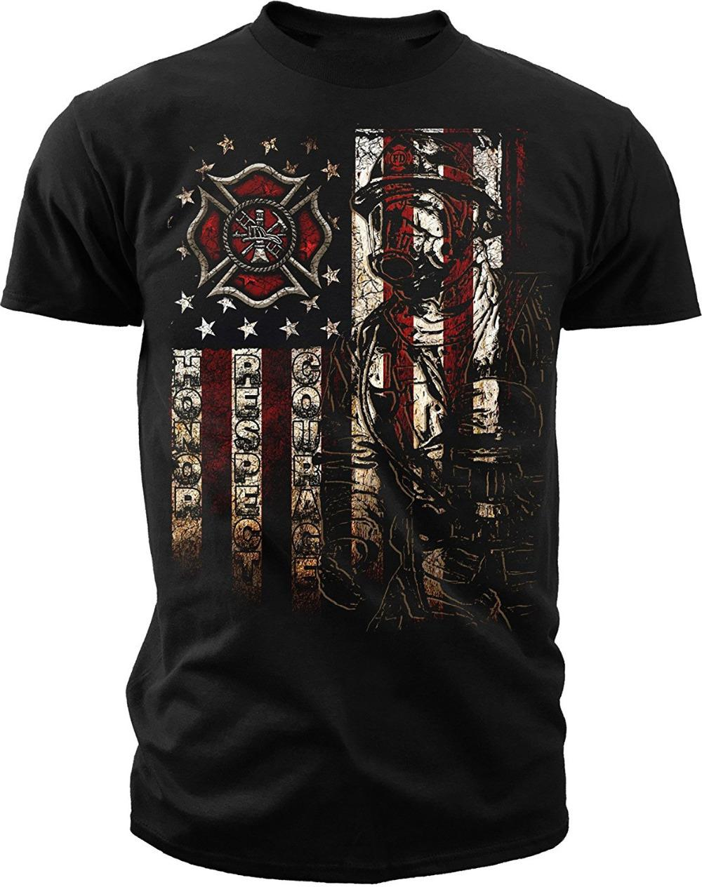 344f40779 Military T Shirts Crew Neck Men Short Graphic Ink Men'S Firefighter  American Flag T-Shirt Hot Sales Desig Tees