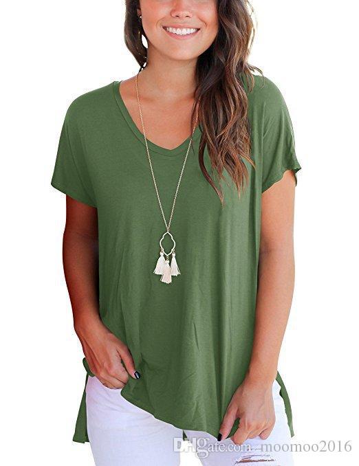 High Quality S-2XL Plain T Shirt Women Fashion Brand Modal High Low Style Tee Tshirt Female Loose Casual Shirts