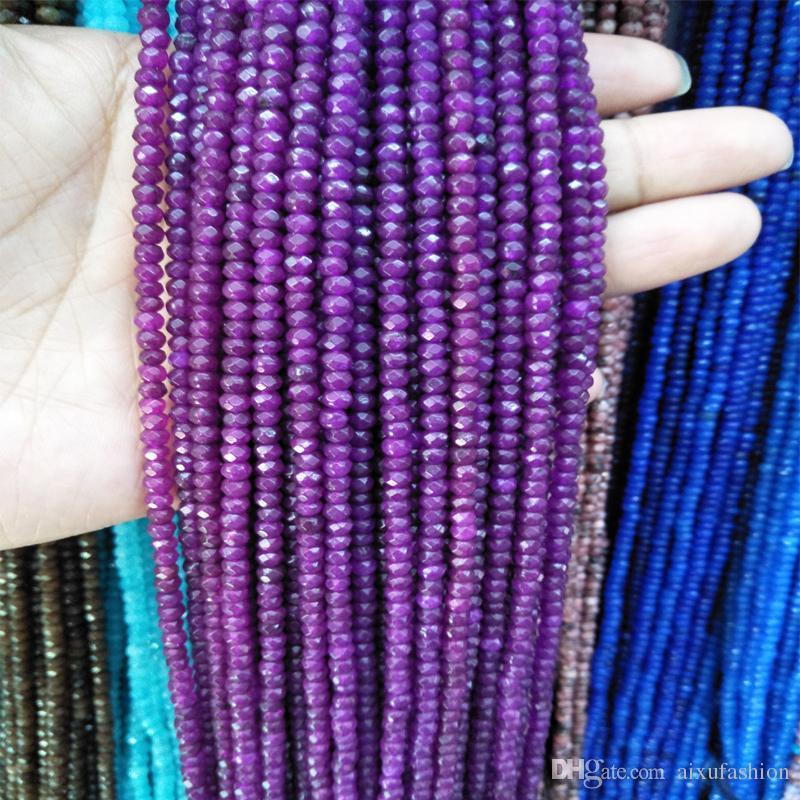 2x4mm Facted Bunte Rubine Stein Perlen Flache Oval Naturstein Lose Perlen DIY Halskette Schmuck Machen Mode Stil Geschenk