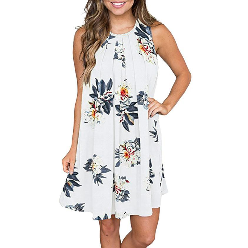 b89f6e8a86a Feitong Summer Beach Dresses Women Floral Printed O Neck Shift Dress  Keyhole Back Lady Sleeveless Bohemian Dress  BF Long And Short Dress  Sundress Online ...