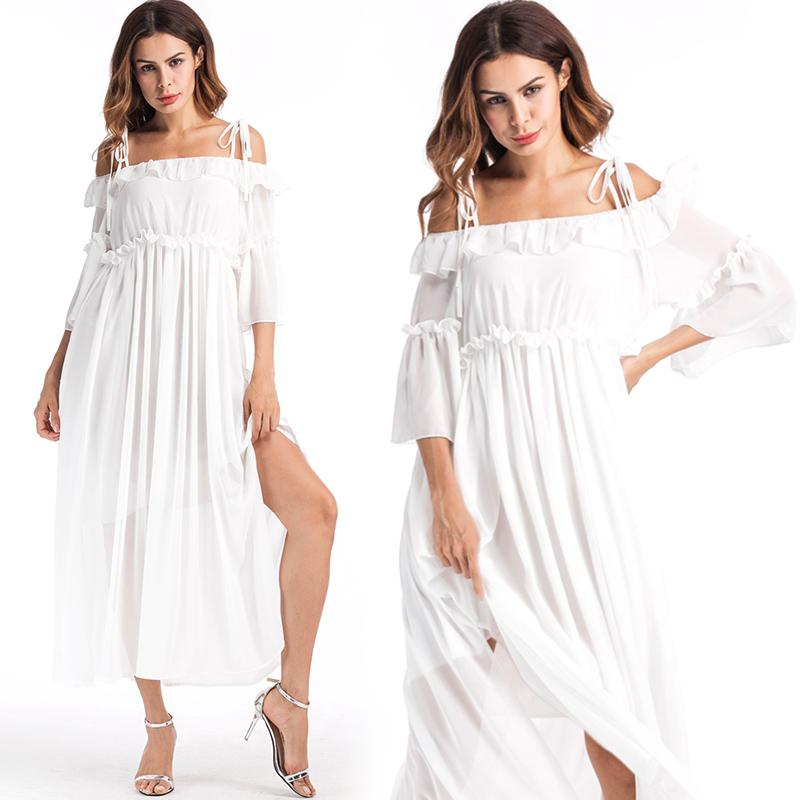 b10b1d338635 2019 Off Shoulder Dress White Chiffon With Flounce Trim Split Sexy  Spaghetti Strap Bohemian Dresses For Women Party Beach Casual Holiday  Clothes From ...