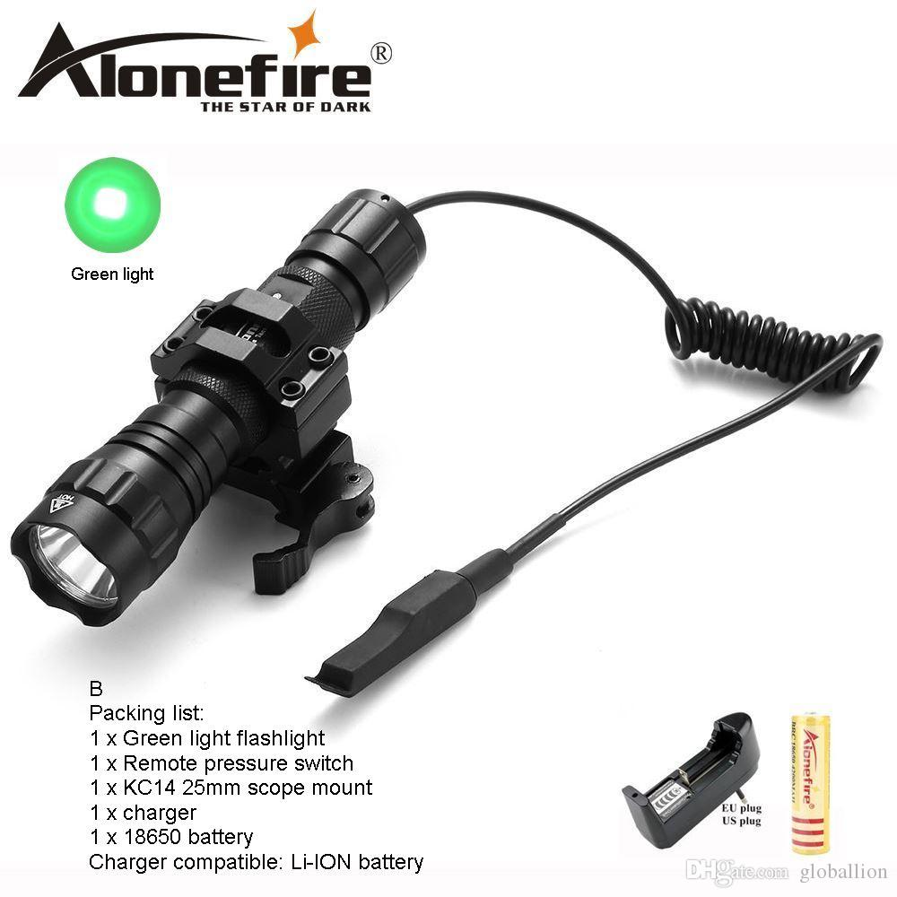 AloneFire 501Bs CREE Tactical Flashlight green flash lights 501B LED Hunting Torch +Remote Switch +Tactical mount for 18650 battery