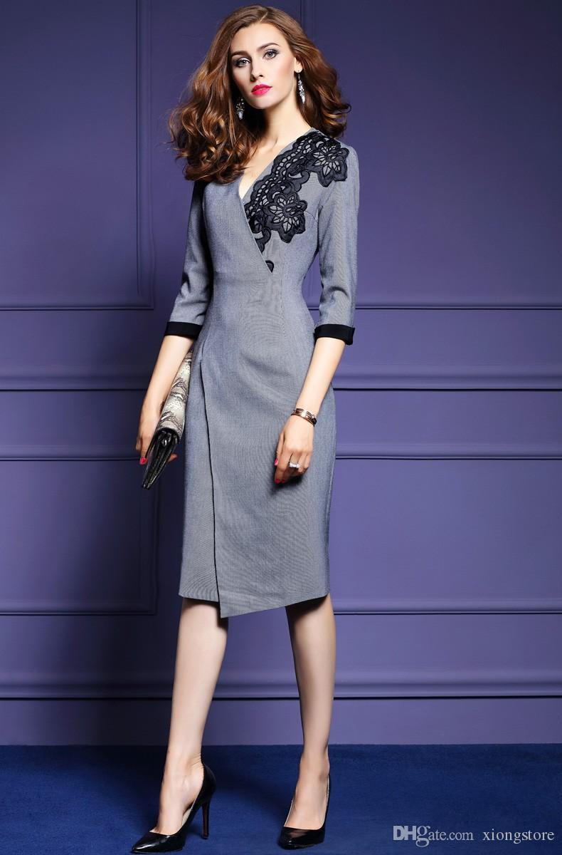 Mermaid fall 2019 Half Sleeve women's Dresses fashion runway sexy high quality v-neck knitted cotton embroidered irregular Work Dresses