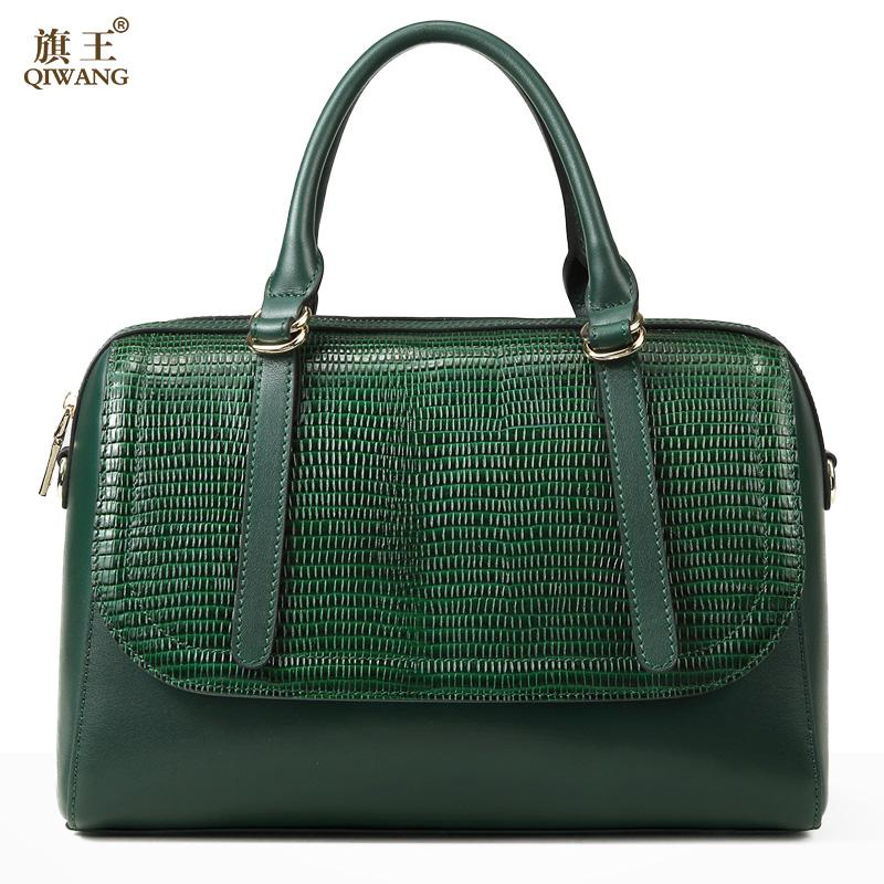 Green Boston Bag For Women Genuine Leather Tote Bags Classic Brand Design  High Quality Luxury Green Handbag Purse Fashion Handbags Large Handbags  From ... 942a3164b5dcc