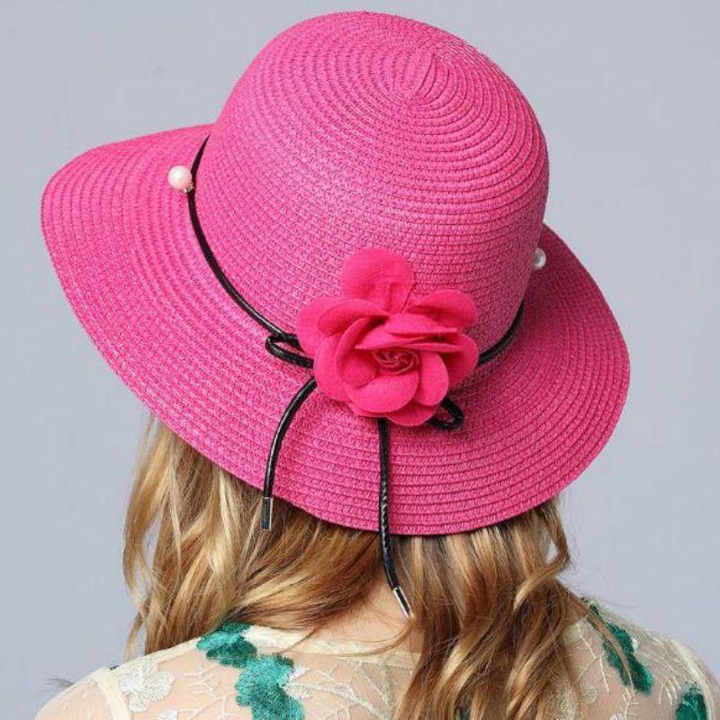 77b5ef4431f 2018 Hot Women Big Brim Sun Beach Caps Foldable Colorful Stone Hand Made  Straw Cap Female Summer Shade Fascinator Hats Tilley Hat From Winwin2013