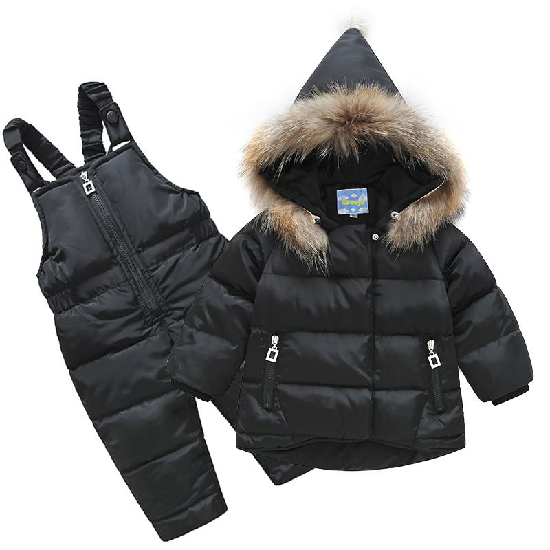 2017 New Boys Skid Brand Winter Children Clothing Set For Girls Jacket Coat Overalls Warm Down Snow Suit Baby Kids Clothes