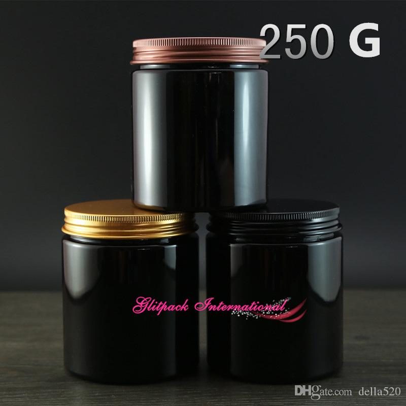 dbc0590c02ce3 250g Black Color Unique Cosmetic Packaging 8oz Plastic Jar Packaging ...