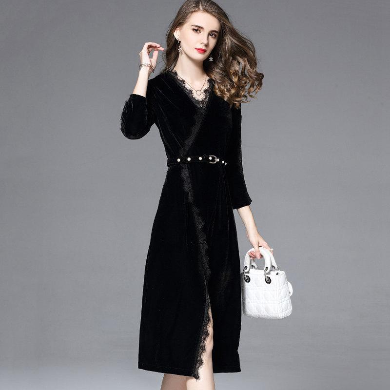 Großhandel Kleid Winter 2019 Mujer Veludo Vestidos Velour Schwarz EDHI29YbeW