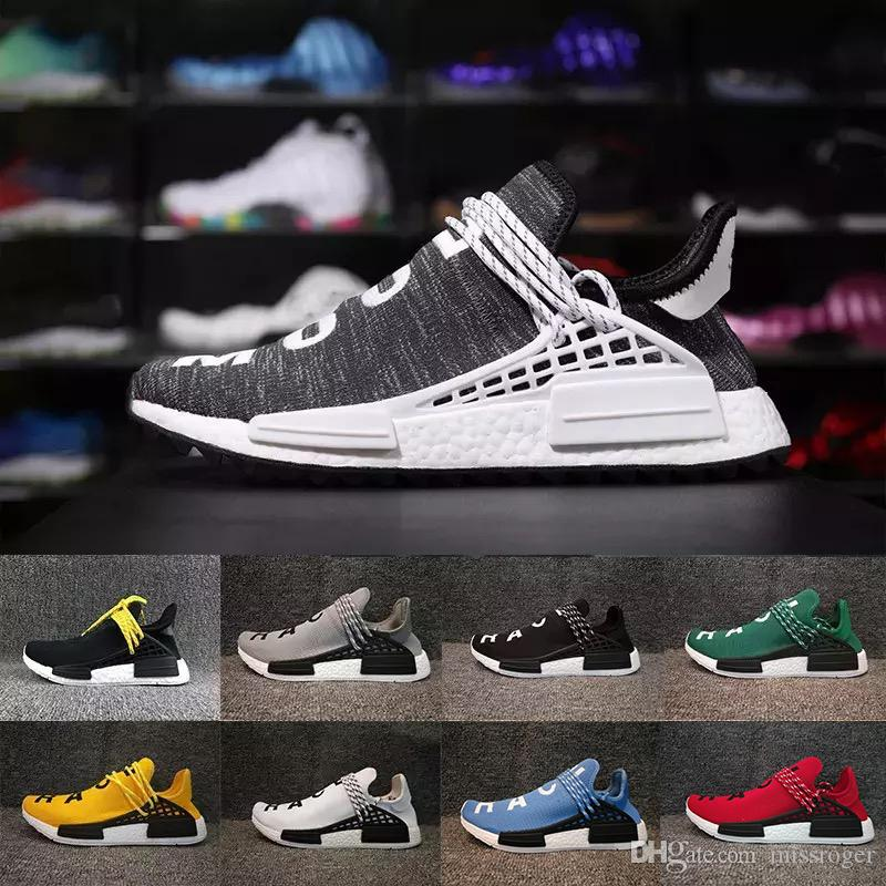 bad513e49 Cheap Pharrell Williams X Human Race Running Shoes Yellow Black White Runner  Men And Women Trainers Sneakers Boots 36-47