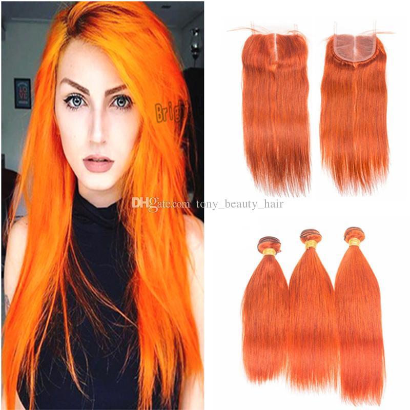 9a Pure Color 350 Orange Silky Straight Virgin Peruvian Human Hair