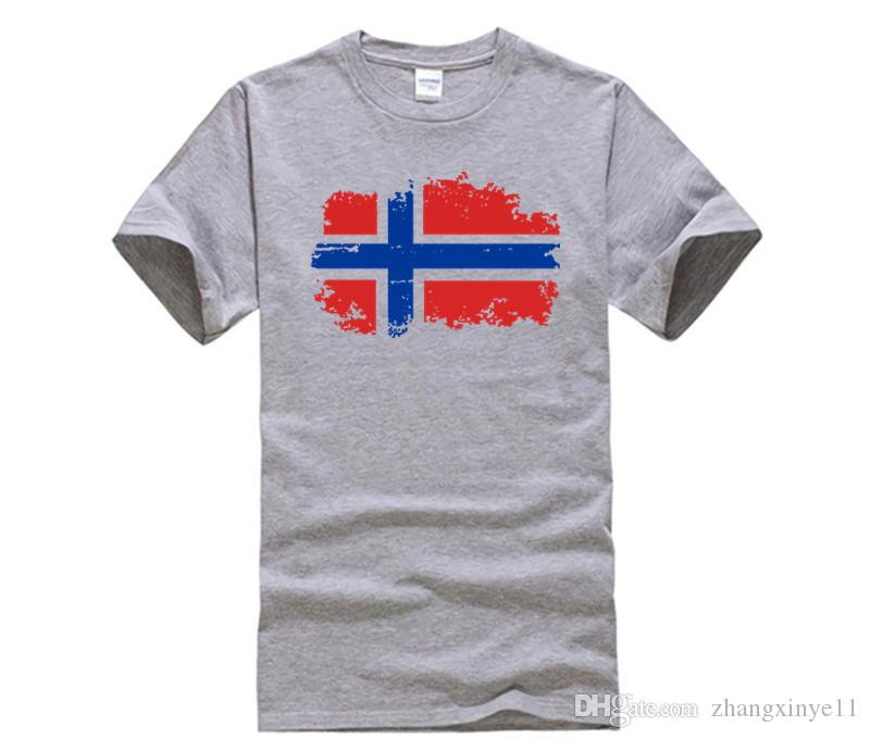 DIY style mens t shirts Fashion European Cup Norway National Flag Design T shirts For Men 100% Cotton Short Top & Tee