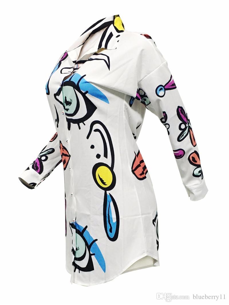 Yeni Moda Seksi Baskılı Rahat Gevşek Mini Elbiseler Kadın Yaz Beyaz Parti Kulübü Elbise Boyutu S-XL