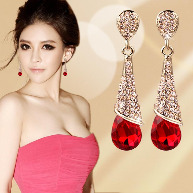 Korean Fashion Luxury Rhinestone Crystal Water Drop Long Earrings Jewelry Bride Wedding Earrings Non Pierced Ear Clip Ear Cuff