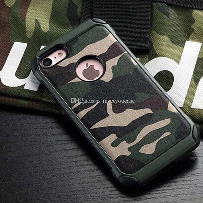 a68d897171 Case for iPhone 6 6S 7 8 plus X Army Camo Camouflage Pattern PC+TPU 2 in 1  Anti-knock Back Cover