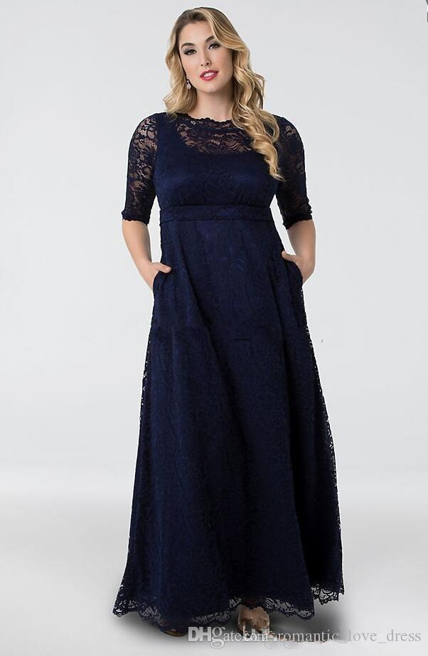 Plus Size Navy Blue Lace Mother of the Bride Dresses 2019 New Design Floor  Length A-Line Half Sleeve Vintage Wedding Guest Dresses M018