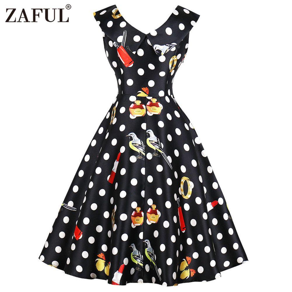 Acquista Zaful Polka Dot Stampa Abiti Vintage Donna Estate Senza Maniche  2018 Donna Vestidos Pin Up Dress Midi A Line Dress Plus Size 4xl A  26.81  Dal ... 4d59aa0e8be