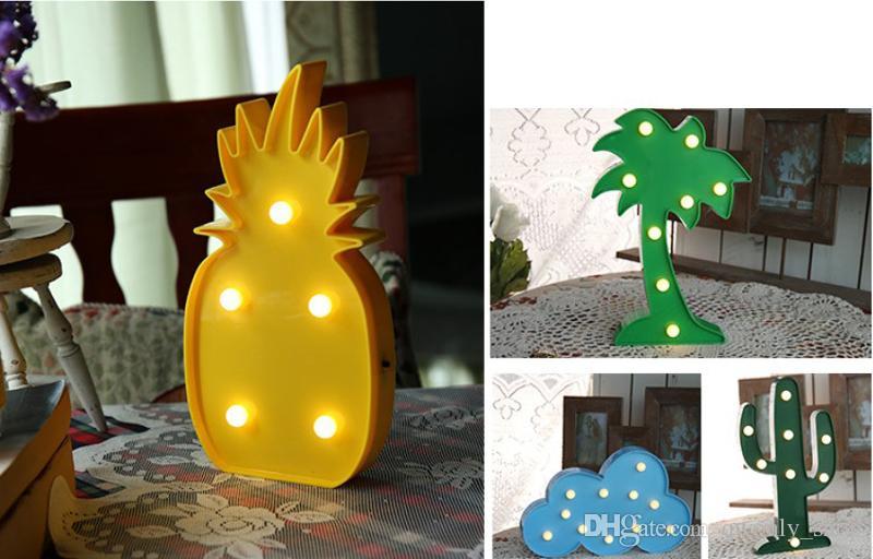 Flamingo lindo llevó la luz de la noche marquesina signo piña lámpara de pared de cactus para niños regalo de los niños fiesta en casa habitación decoración