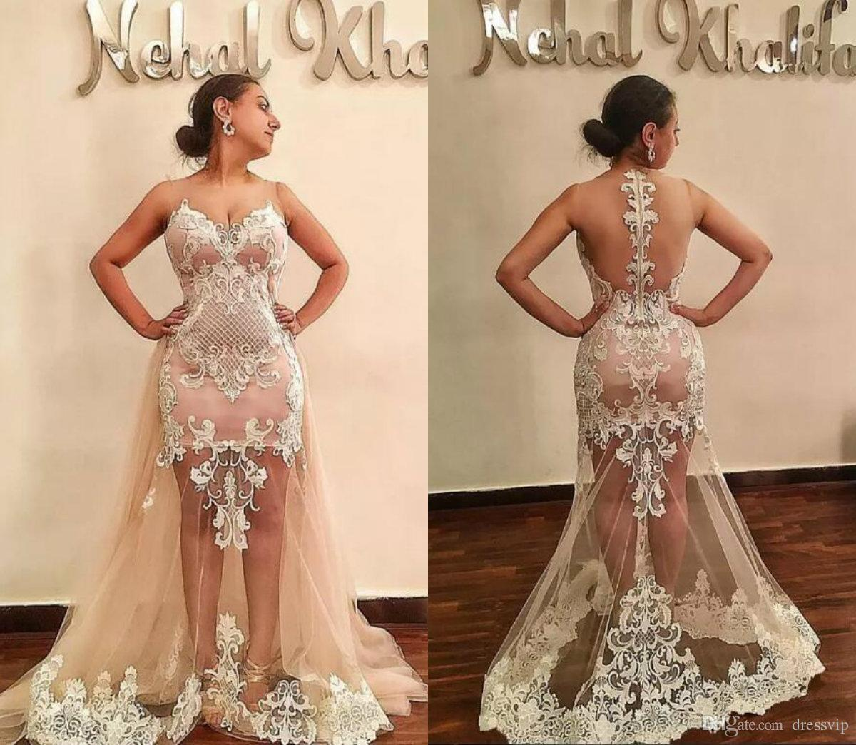 d5300f4c53 Dusty Pink Mermaid Prom Dresses Sheer Jewel Neck 2018 Sleeveless Lace  Appliqued Sexy Illusion Bodices Evening Gowns With Detachable Train  Sequined Prom ...