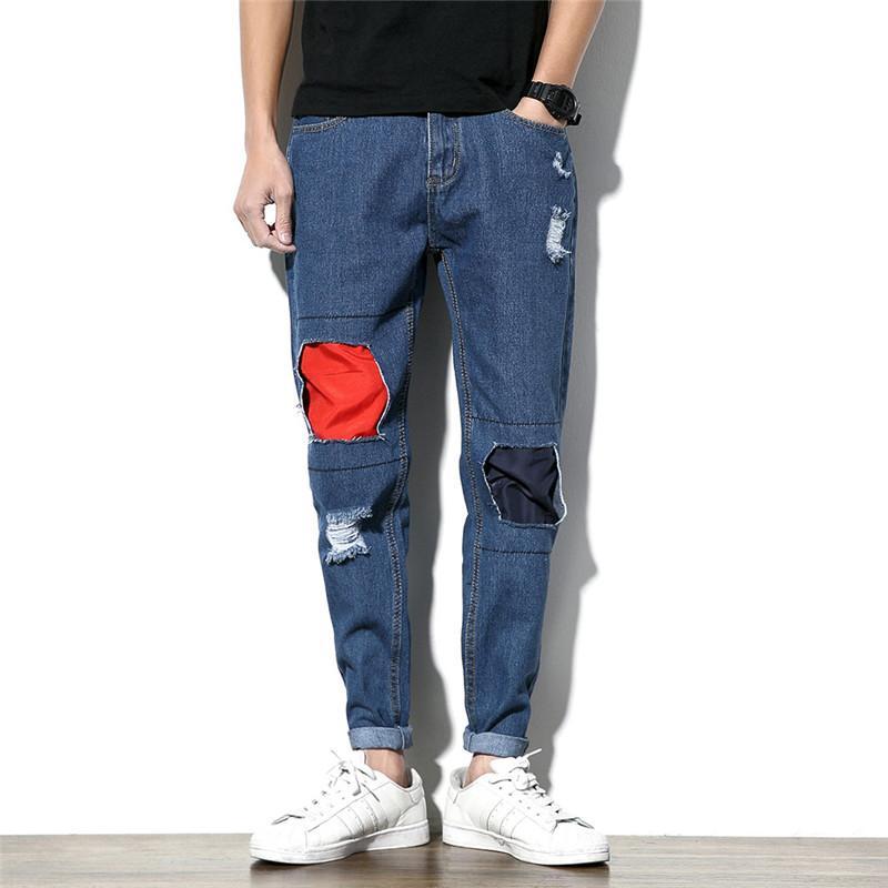 be44573ded MORUANCLE Moda Uomo Jeans Rattoppati Pantaloni Denim Strappati Pantaloni  Per Uomo Afflitto Jean Joggers Con Patchwork Plus Size M-5XL