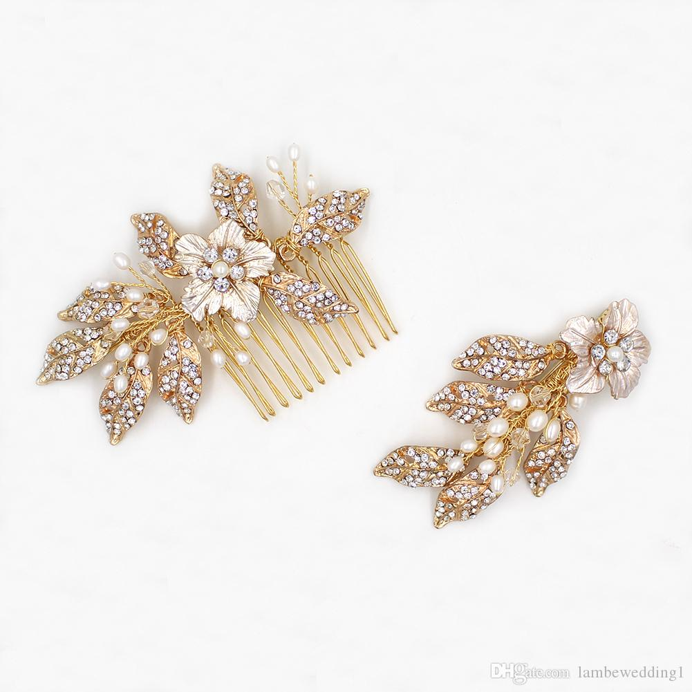 2018 Vintage Wedding Hair Combs Gold Glinting Leaves Rhinestone Sold As A Pair Of Two Pearl Bridal Headpieces Tiaras Bridal Accessories