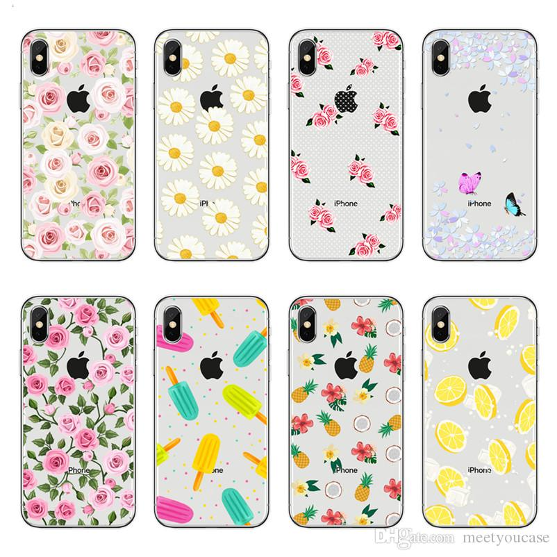 90afe6e6b8 Phone Case For Apple IPhone XS MAX XR 5 5S SE 6 6S 7 8 Plus X Floral Flower  Rose Daisy Banana Ice Cream Pattern TPU Soft Silicone Back Cover Customized  ...