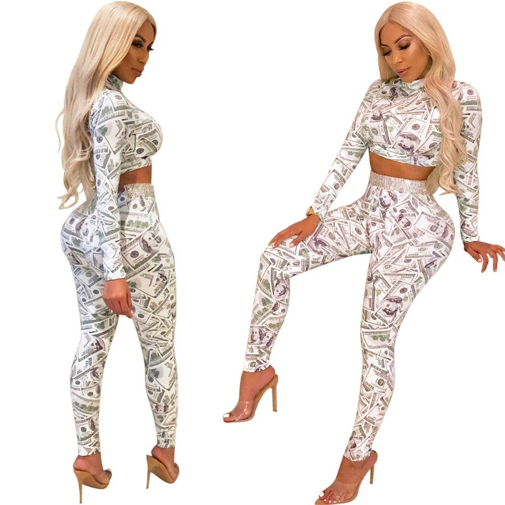 b009db8225a9 ful Printed Sexy Set Women Turtleneck Long Sleeve Crop Top And Bodycon Pant  Female Clothes M824 From Sikaku