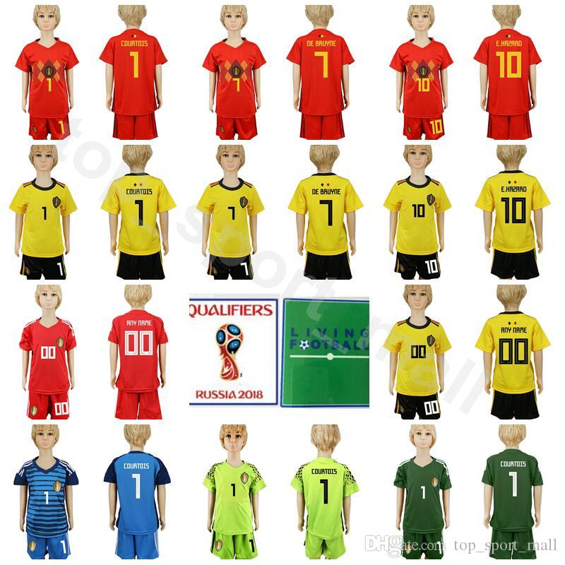 88265288ed4 2019 Youth Belgium Jersey Kids Soccer 7 Kevin De Bruyne Football Shirt Kits  10 Eden Hazard 1 Thibaut Courtois 9 Romelu Lukaku With Short Pant From ...