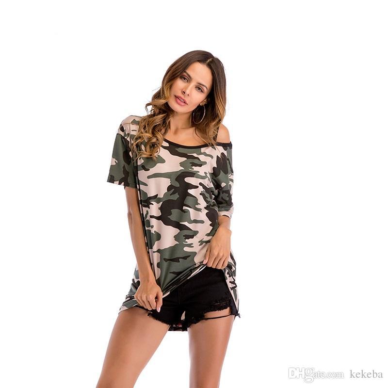 c6d582782 Women's T-shirt - Camouflage Off-the-shoulder Long Short Sleeve - Loose Large  Size Women's 4 Yards M-XXL Camouflage T-shirt Strapless Short Sleeve Online  ...