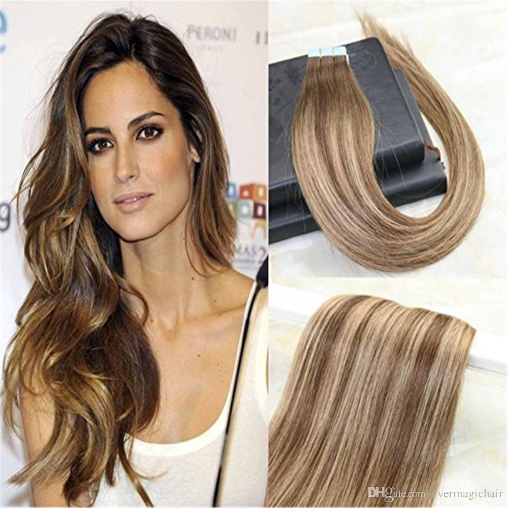 Real Human Hair Full Head Tape In Extensions Omber Balayage Color4